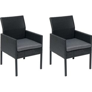 2x Poly-Rattan Sessel MCW-G12, Gartenstuhl Korbsessel ~ schwarz, Kissen dunkelgrau, Alu / halbrund / Spun Poly - Bild 1