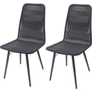 2x Poly-Rattan Stuhl MCW-F90, Rattanstuhl Gartenstuhl, Metallgestell ~ schwarz - Bild 1