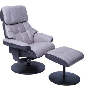 MCA Relaxsessel MCW-F21, Fernsehsessel Hocker, Stoff/Textil 110kg belastbar ~ grafit-hellgrau - Bild 1