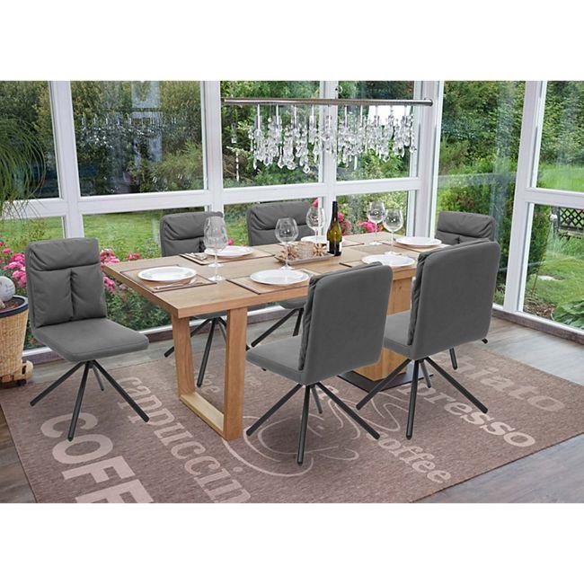6x Esszimmerstuhl MCW G58, Küchenstuhl Stuhl, drehbar Auto Position TextilStoff ~ grau