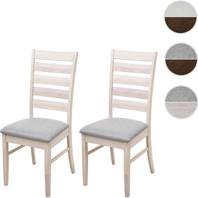 2x Esszimmerstuhl MCW G47, Küchenstuhl Stuhl, StoffTextil Massiv Holz ~ helles Gestell, grau