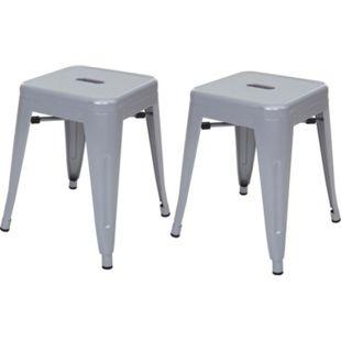 2x Hocker MCW-A73, Metallhocker Sitzhocker, Metall Industriedesign stapelbar ~ grau - Bild 1