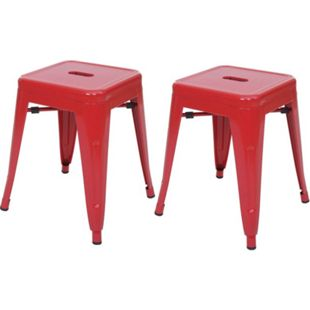 2x Hocker MCW-A73, Metallhocker Sitzhocker, Metall Industriedesign stapelbar ~ rot - Bild 1