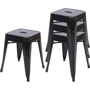 4x Hocker MCW-A73, Metallhocker Sitzhocker, Metall Industriedesign stapelbar ~ schwarz - Bild 1