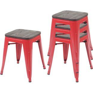 4x Hocker MCW-A73 inkl. Holz-Sitzfläche, Metallhocker Sitzhocker, Metall Industriedesign stapelbar ~ rot - Bild 1