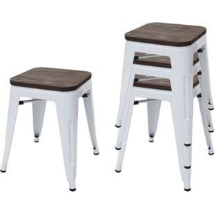 4x Hocker MCW-A73 inkl. Holz-Sitzfläche, Metallhocker Sitzhocker, Metall Industriedesign stapelbar ~ weiß - Bild 1
