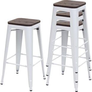 4x Barhocker MCW-A73 inkl. Holz-Sitzfläche, Barstuhl Tresenhocker, Metall Industriedesign stapelbar ~ weiß - Bild 1