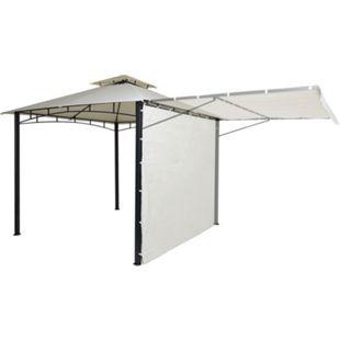 Pergola MCW-F94, Garten Pavillon, Stahl bewegliche Seitenwand 2,5x2,5m ~ creme-beige - Bild 1