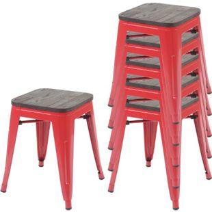 6x Hocker MCW-A73 inkl. Holz-Sitzfläche, Metallhocker Sitzhocker, Metall Industriedesign stapelbar ~ rot - Bild 1