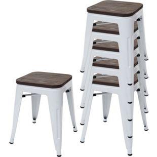 6x Hocker MCW-A73 inkl. Holz-Sitzfläche, Metallhocker Sitzhocker, Metall Industriedesign stapelbar ~ weiß - Bild 1