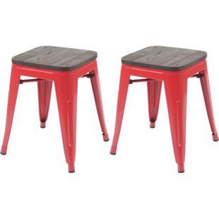 2x Hocker MCW-A73 inkl. Holz-Sitzfläche, Metallhocker Sitzhocker, Metall Industriedesign stapelbar ~ rot - Bild 1