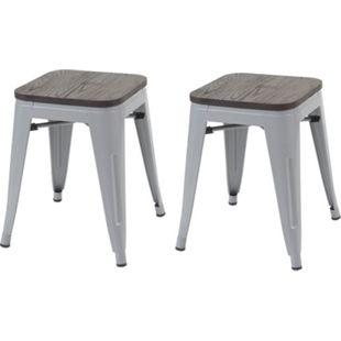 2x Hocker MCW-A73 inkl. Holz-Sitzfläche, Metallhocker Sitzhocker, Metall Industriedesign stapelbar ~ grau - Bild 1