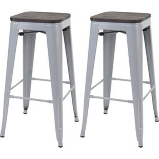 2x Barhocker MCW-A73 inkl. Holz-Sitzfläche, Barstuhl Tresenhocker, Metall Industriedesign stapelbar ~ grau - Bild 1