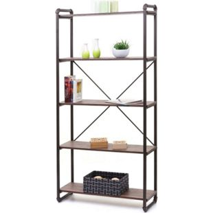 Bücherregal MCW-F58, Standregal Wohnregal, Industriedesign 165x80cm 3D-Struktur ~ braun Wildeiche-Optik - Bild 1
