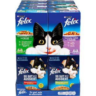 Felix Katzennahrung Gemischte Vielfalt 10 x 100 g, verschiedene Sorten, 8er Pack - Bild 1