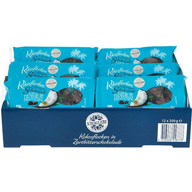 Schokoliebe Kokosflocken Zartbitter 200 g, 12er Pack - Bild 1