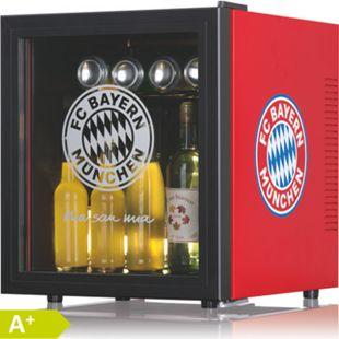 FCB Kühlschrank 50l mit Glastür 12V schwarz/rot mit Logo - Bild 1