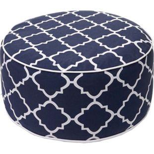 Sitzhocker MCW-G31, Pouf Sitzkissen Sitzsack Gartenhocker, Spun Poly In-/Outdoor 29x55cm ~ blau-weiß - Bild 1