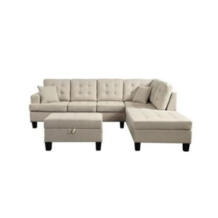 Home Deluxe Polsterecke Florenz Sofa links, mit Hocker - Bild 1
