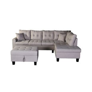 Home Deluxe Polsterecke Mailand Sofa links, mit Hocker - Bild 1