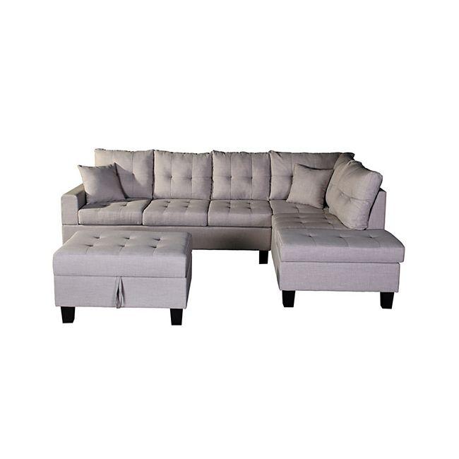 Home Deluxe Polsterecke Mailand Sofa links, mit Hocker - Bild 1