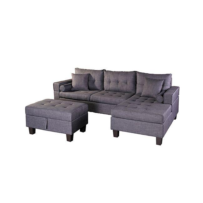 Home Deluxe Polsterecke Rom Sofa links, mit Hocker - Bild 1