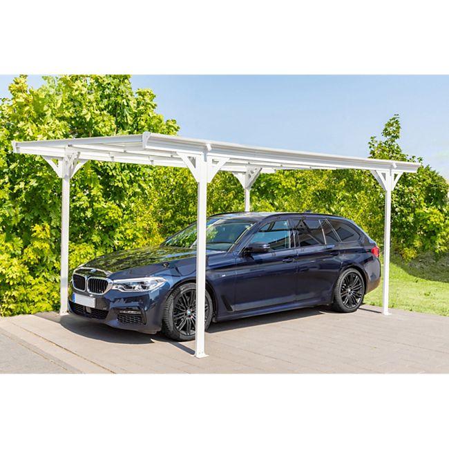 Westmann Aluminium Flachdach Carport Helsinki 15 m² weiss inkl. Regenrinne - Bild 1