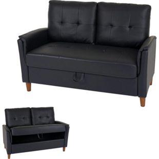 2er Sofa MCW-H23, Loungesofa Doppelsitzer Zweisitzer, Stecksystem Staufach ~ Kunstleder, schwarz - Bild 1