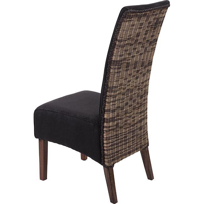 6x Esszimmerstuhl MCW H11, Küchenstuhl Stuhl, Stoff Wildlederoptik Massivholz echtes Rattan Korbgeflecht ~ schwarz