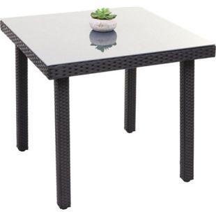 Poly-Rattan Gartentisch Chieti, Esstisch Beistelltisch Tisch mit Glasplatte, 80x80cm ~ schwarz - Bild 1