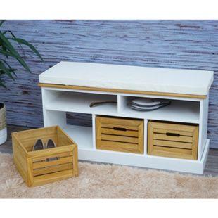 Sitzbank mit Staufächern MCW-G50, Polsterbank, Kissen Landhaus Aufbewahrungsboxen Fach 49x95x35cm ~ weiß-braun - Bild 1