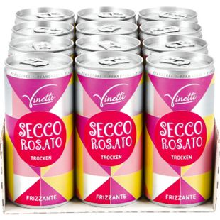 Vinetti Secco Rosato Frizzante 10,0 % vol 200 ml, 12er Pack - Bild 1