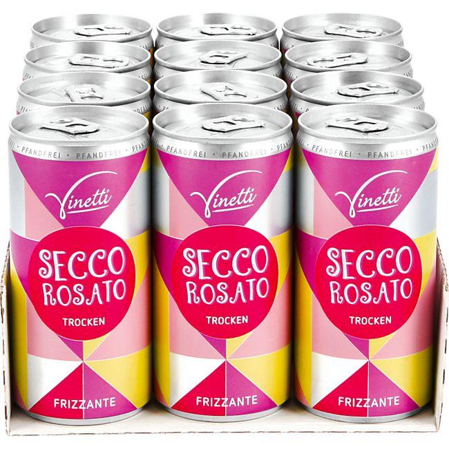 Vinetti Secco Rosato Frizzante 10,0 % vol 200 ml, 12er Pack - Bild 1