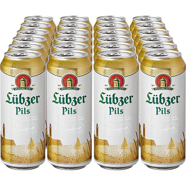 Lübzer Pils 4,9 % vol 0,5 Liter Dose, 24er Pack - Bild 1