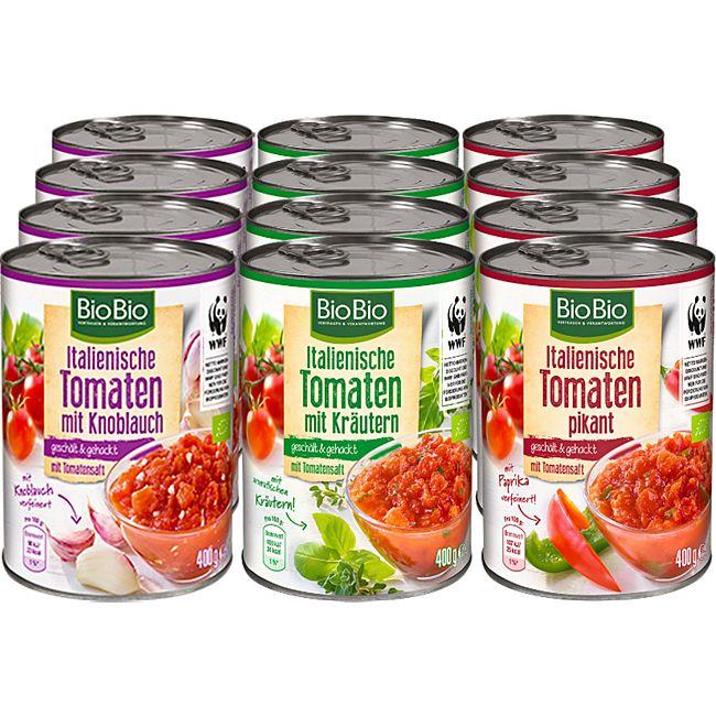 BioBio Tomaten gewürzt 400 g, verschiedene Sorten, 12er Pack - Bild 1