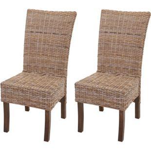 2x Esszimmerstuhl MCW H14, Stuhl Rattanstuhl Küchenstuhl Korbstuhl, Massivholz Rattan ~ braun grau ohne Kissen