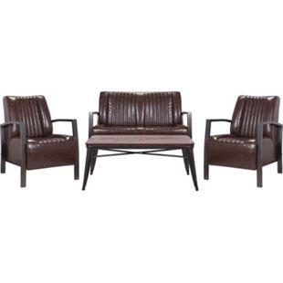 Wohnzimmer-Set MCW-H10, 2er Sofa Polstersessel Couchtisch, Kunstleder Metall Industrial FSC ~ braun - Bild 1