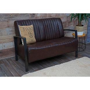 2er Sofa MCW-H10, Couch Zweisitzer, Metall Kunstleder Industrie-Design ~ vintage braun - Bild 1
