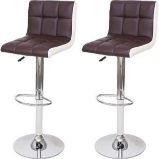 2x Barhocker MCW-G87, Tresenhocker Barstuhl, höhenverstellbar ~ Kunstleder braun-weiß, Chromfuß - Bild 1