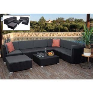 Poly-Rattan Garnitur MCW-G79, Balkon-/Garten-/Lounge-Set Gartenmöbelset Sitzgarnitur Sofa ~ schwarz, Kissen dunkelgrau - Bild 1
