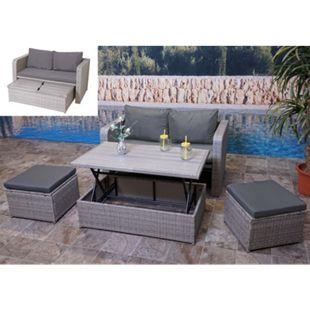 Poly-Rattan Garnitur MCW-G78, Balkon-/Garten-/Lounge-Set Sofa Sitzgruppe, Platzwunder ~ grau, Kissen dunkelgrau - Bild 1