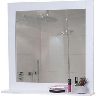 Wandspiegel MCW-F75, Badezimmer Badspiegel Spiegel, Ablagefläche Landhaus 58x59x12cm weiß - Bild 1