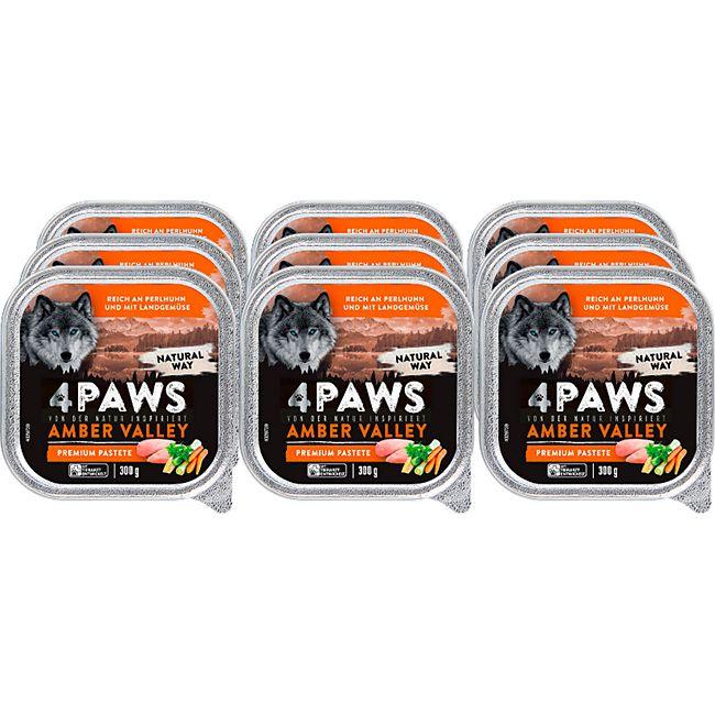 4 PAWS Hundenahrung Perlhuhn Gemüse 300 g, 9er Pack - Bild 1