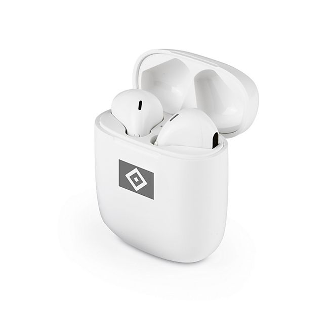 HSV Kopfhörer In-Ear Bluetooth 5V weiß/grau mit Logo - Bild 1