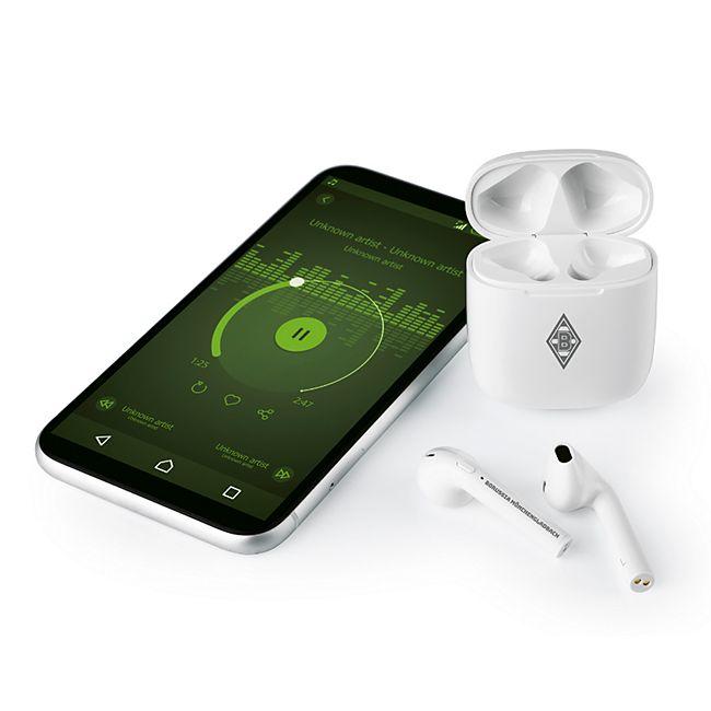 BMG Kopfhörer In-Ear Bluetooth 5V weiß/grau mit Logo - Bild 1