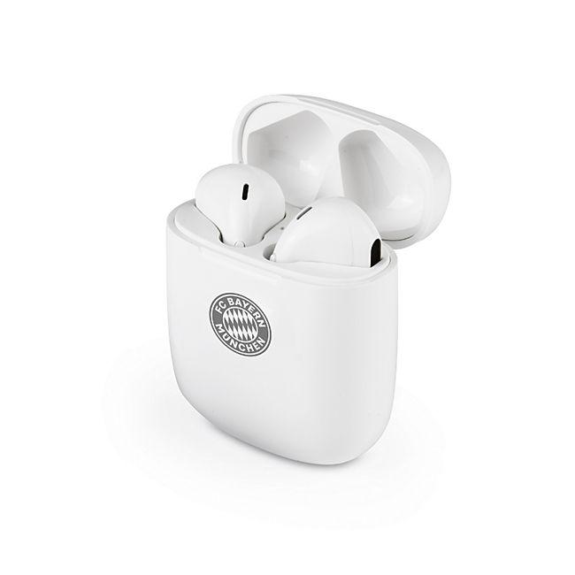 FCB Kopfhörer In-Ear Bluetooth 5V weiß/grau mit Logo - Bild 1