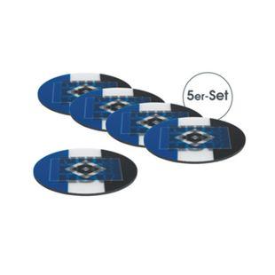 HSV Untersetzer Wechselbild 5er-Set 10,5x10,5cm blau/weiß/schwarz mit Logo - Bild 1