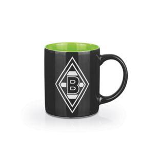 BMG Kaffeebecher 350ml schwarz/weiß/grün mit Logo - Bild 1