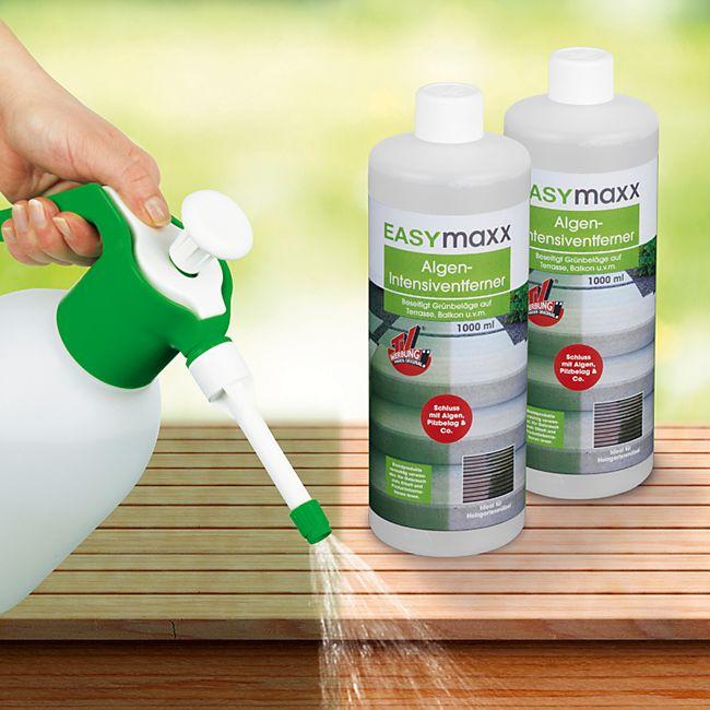 EASYmaxx Reinigungsmittel Algen/Flechten/Pilze 2er-Set 1000ml mit Drucksprüher 1,8l - Bild 1