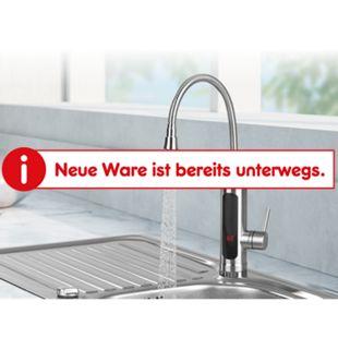 MAXXMEE Warm- & Kaltwasserarmatur Edelstahl 3300W chrom/schwarz inkl. 2 Aufsätze - Bild 1